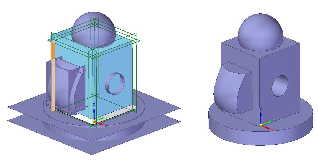 Narzędzia Solid Edge z grupy Modyfikuj powierzchnie rozciagnij, przytnij, zszyj