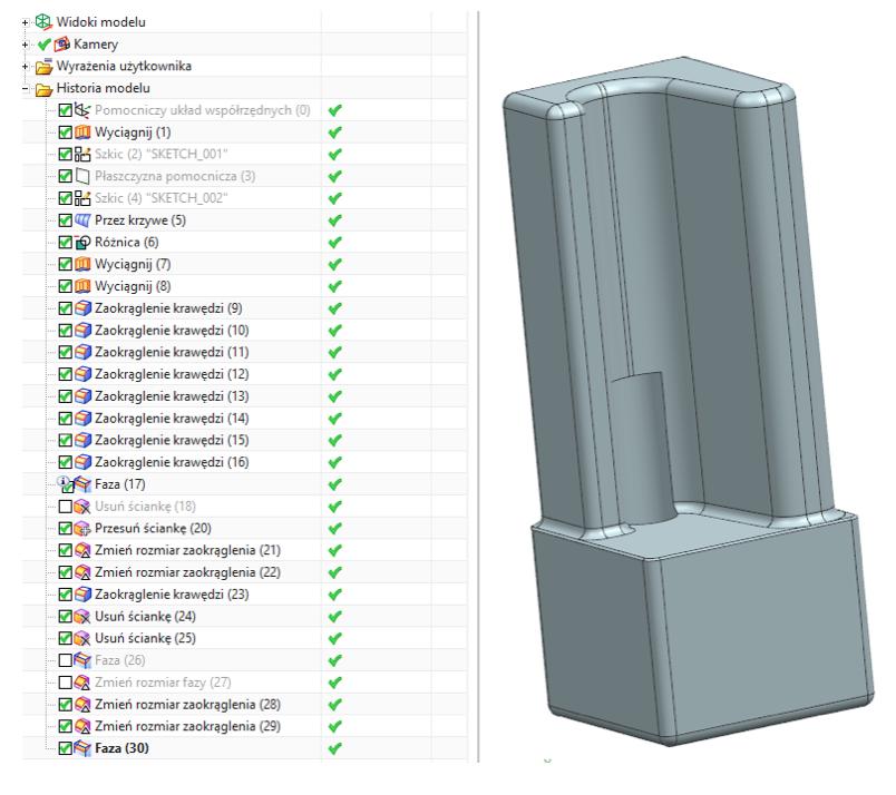 Prezentacja koncepcji Industry 4.0 model CAD detalu od GM System