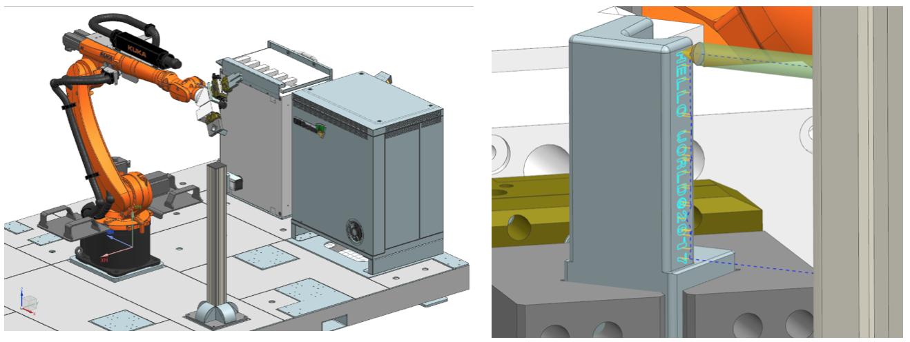 Prezentacja koncepcji Industry 4.0 podczas Targów Mach-Tool - grawerowanie za pomocą robota KUKA