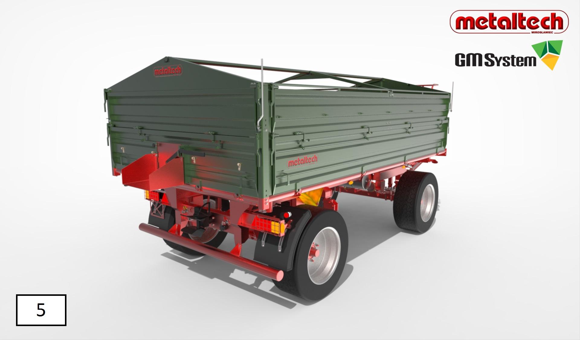 Render modelu przyczepy DB 8000 produkcji Metaltech w środowisku KeyShot