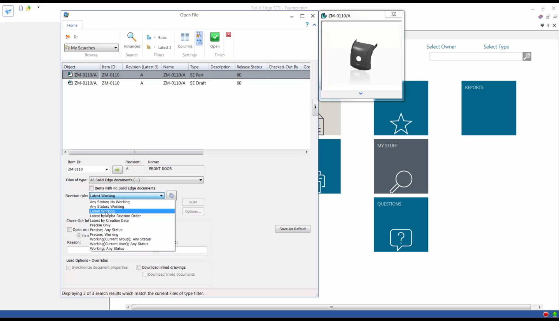 Okno dialogowe Otwórz - integrator Teamcenter dla Solid Edge ST9