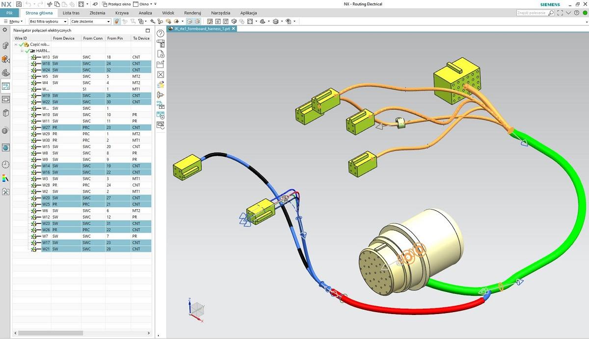 Funkcjonalności NX Routing Electrical