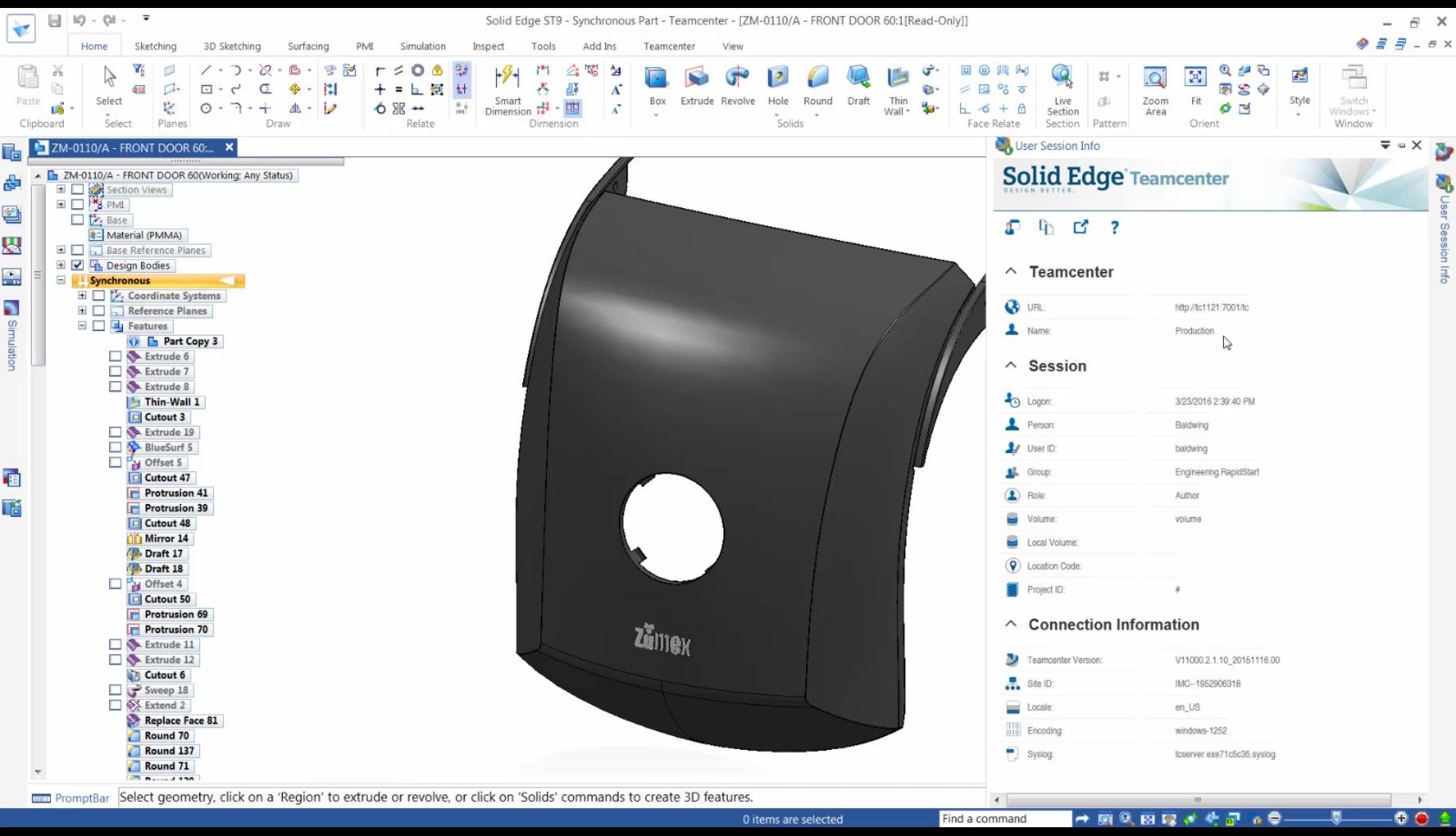 Informacje o sesji użytkownika - integrator Teamcenter dla Solid Edge ST9