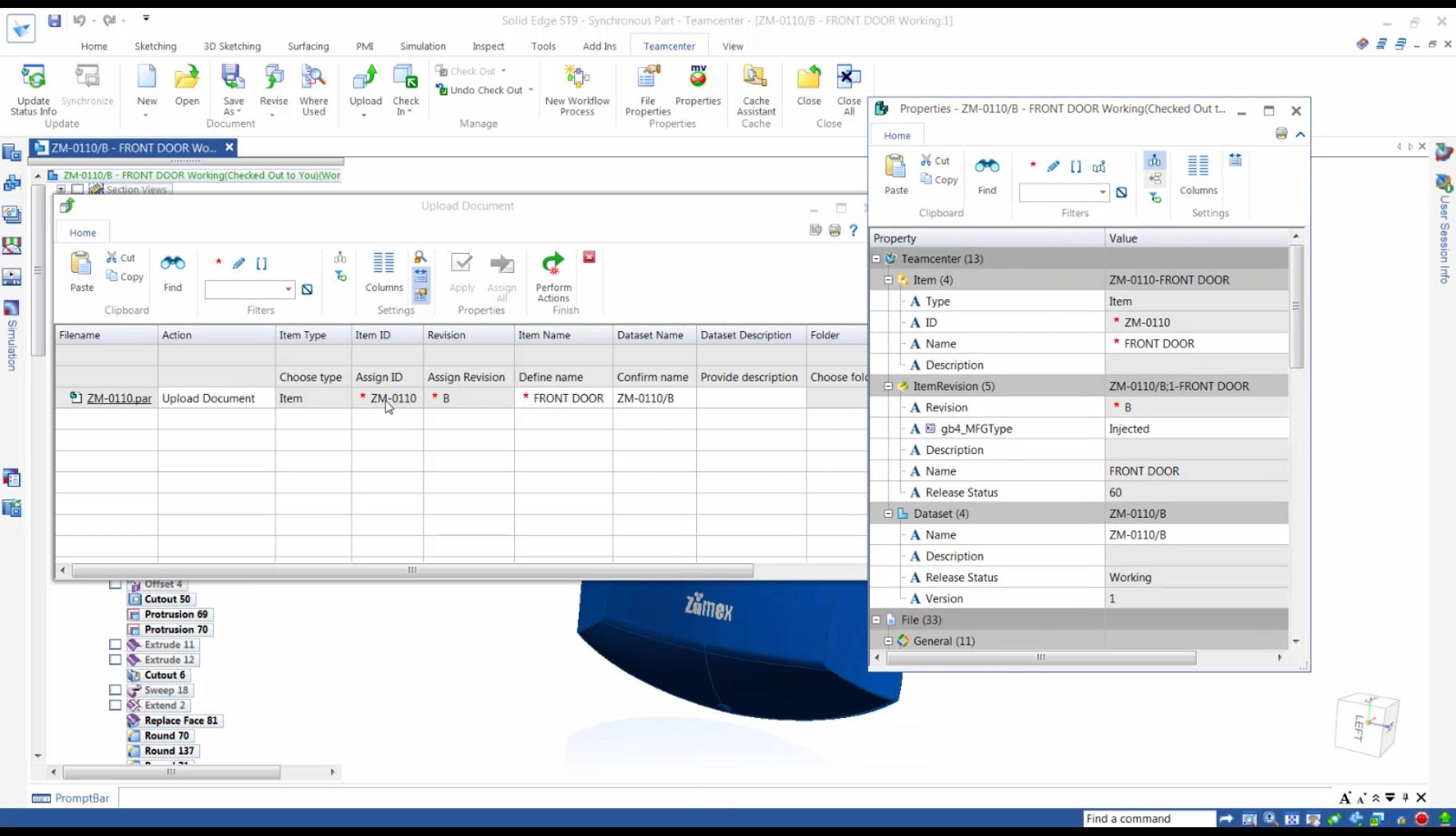 Wgrywanie dokumentu oraz właściwości - integrator Teamcenter dla Solid Edge ST9