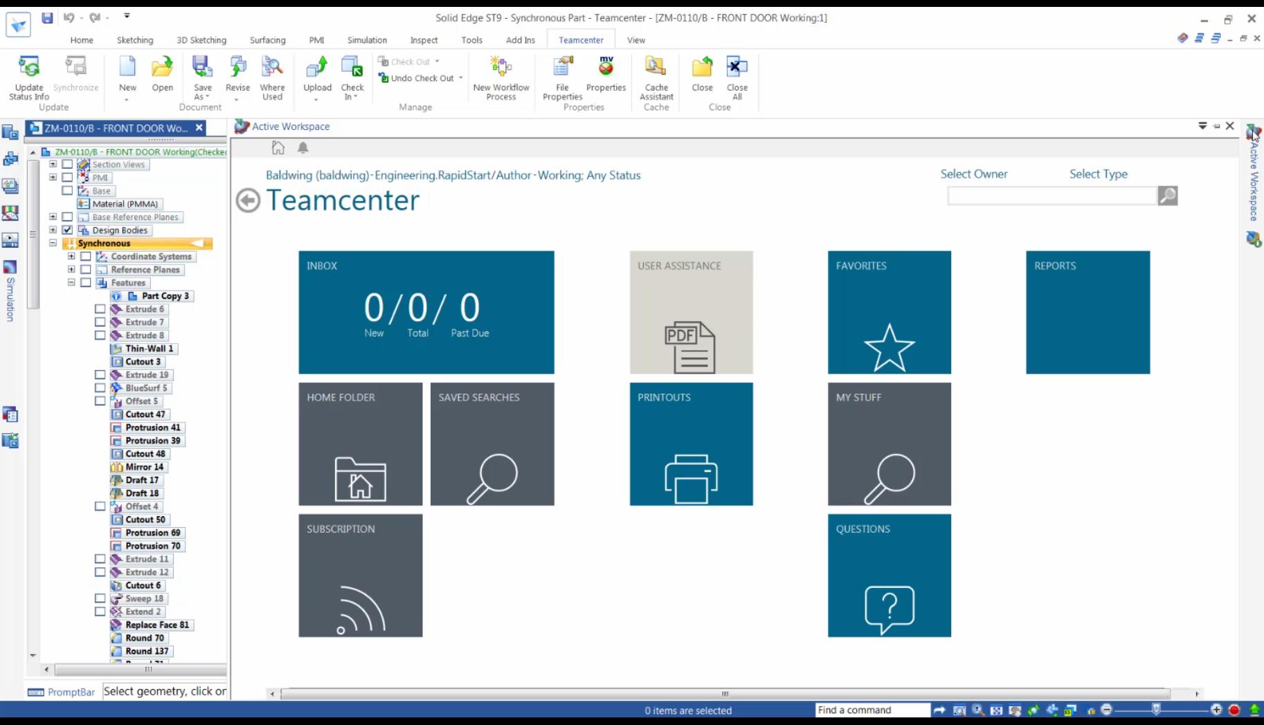 Aktywny obszar roboczy - integrator Teamcenter dla Solid Edge ST9