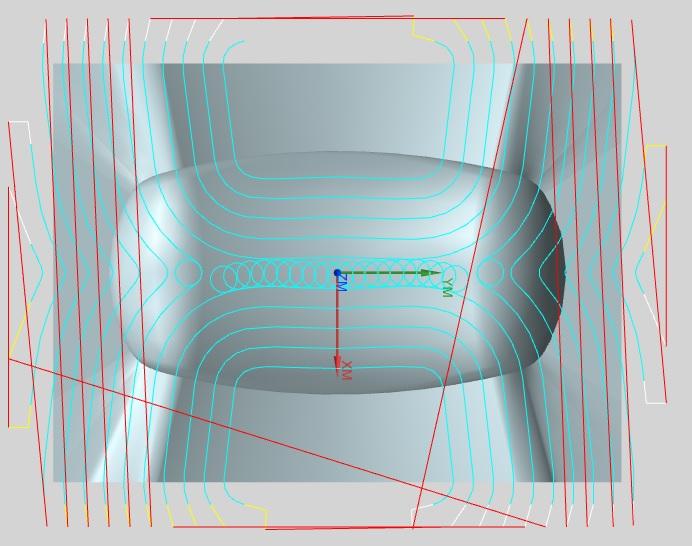 Przykład przedstawia strategię frezowania trochoidalnego dla ścieżek wygenerowanych w NX CAM. Na zdjęciu widzimy, w jaki sposób system NX kontroluje szerokość skrawania nie dopuszczając do jej przekroczenia, stale kontrolując kształt części obrabianej.