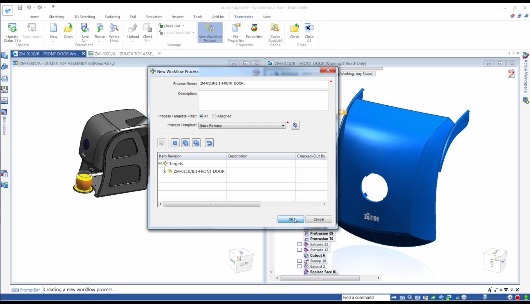 Przepływ pracy - integrator Teamcenter dla Solid Edge ST9