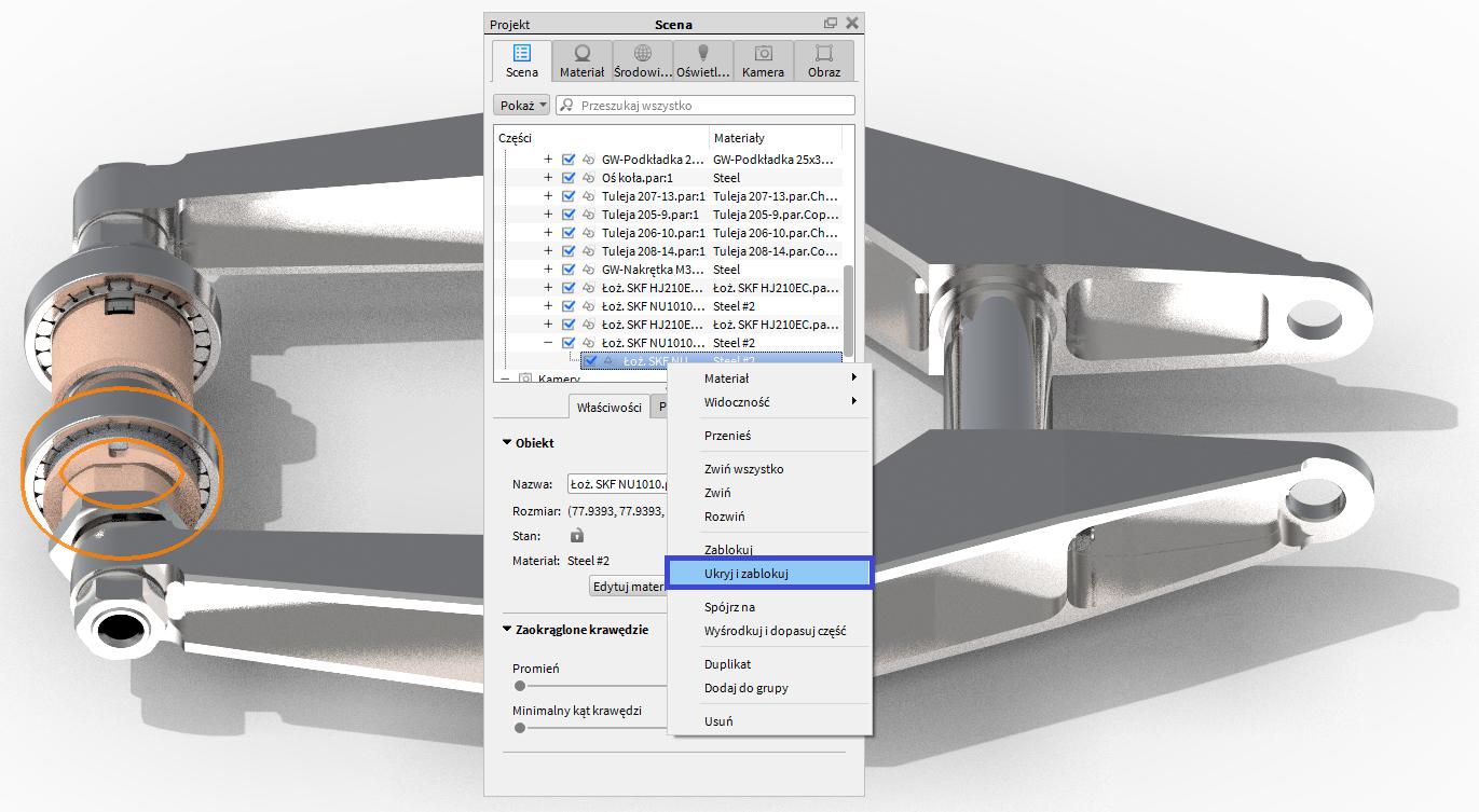 Możliwość ukrywania wybranych części z jednoczesnym ich blokowaniem dla danej kamery w KeyShot 6