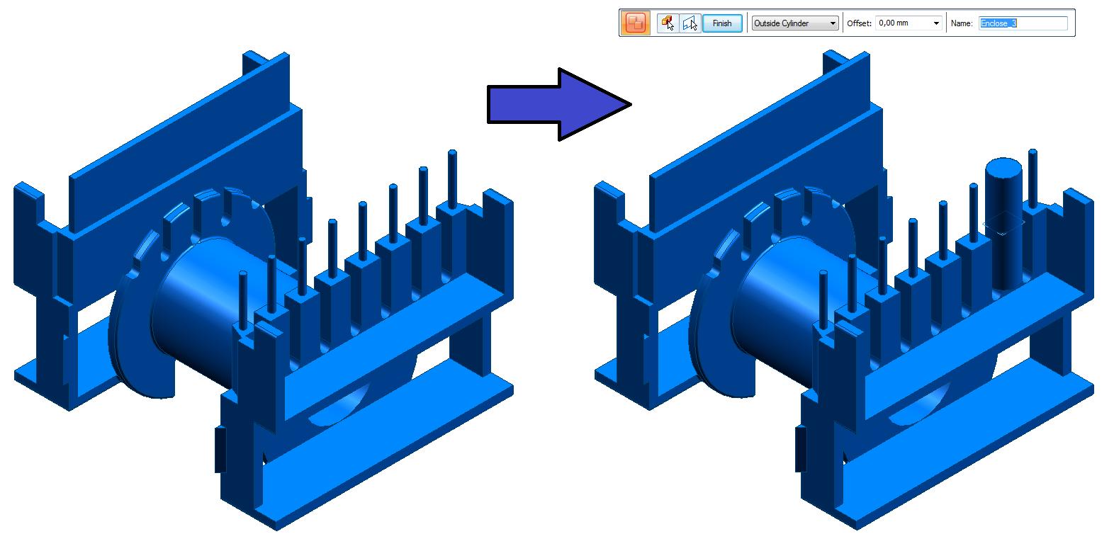 Wykorzystanie funkcji Enclosure z opcją Outside Cylinder (Walec zewnętrzny)