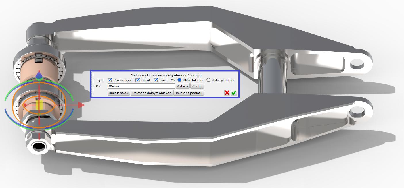 Rozbudowane opcje zmiany położenia wybranych części w KeyShot 6