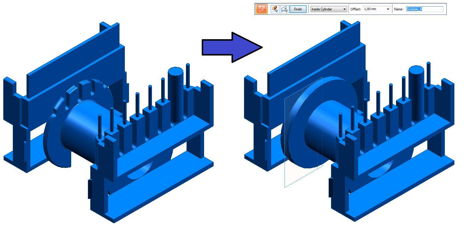 Wykorzystanie funkcji Enclosure z opcją Inside Cylinder (Walec wewnętrzny)