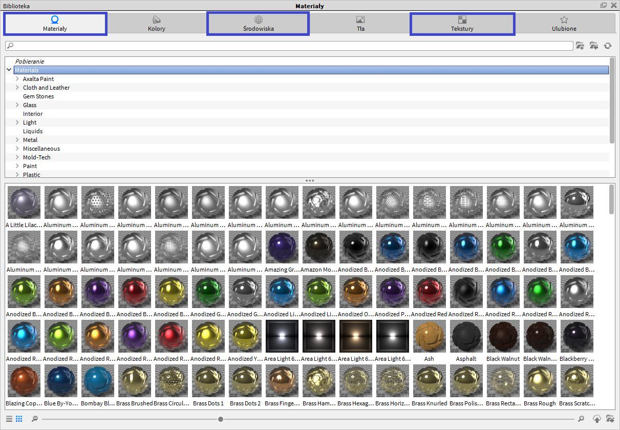 Nowe pozycje w zasobach biblioteki materiałów, środowisk (oświetlenia) i tła w KayShot 6