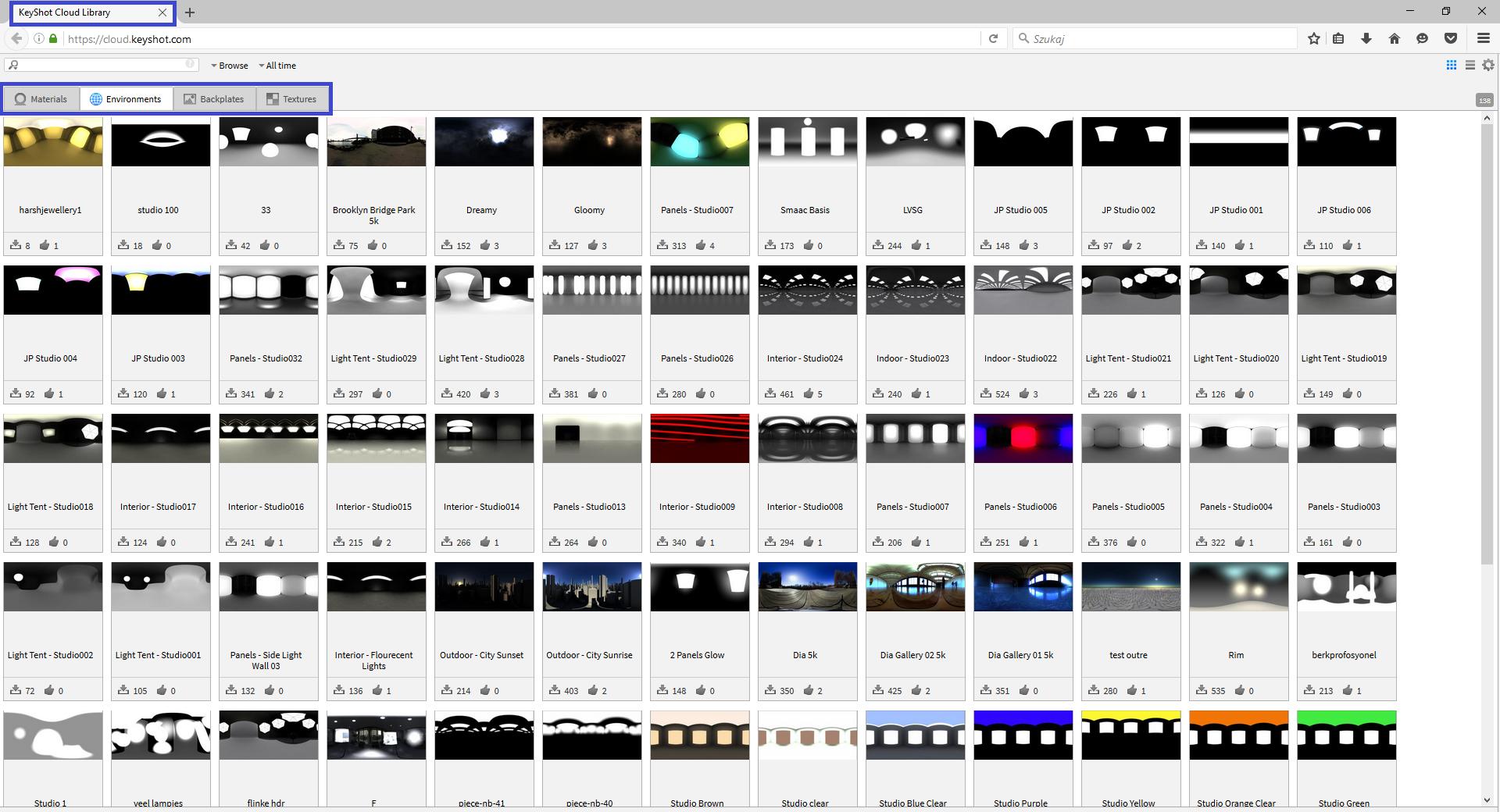 Nowe materiały, środowiska, tła oraz tekstury w bibliotece w chmurze - KayShot 6