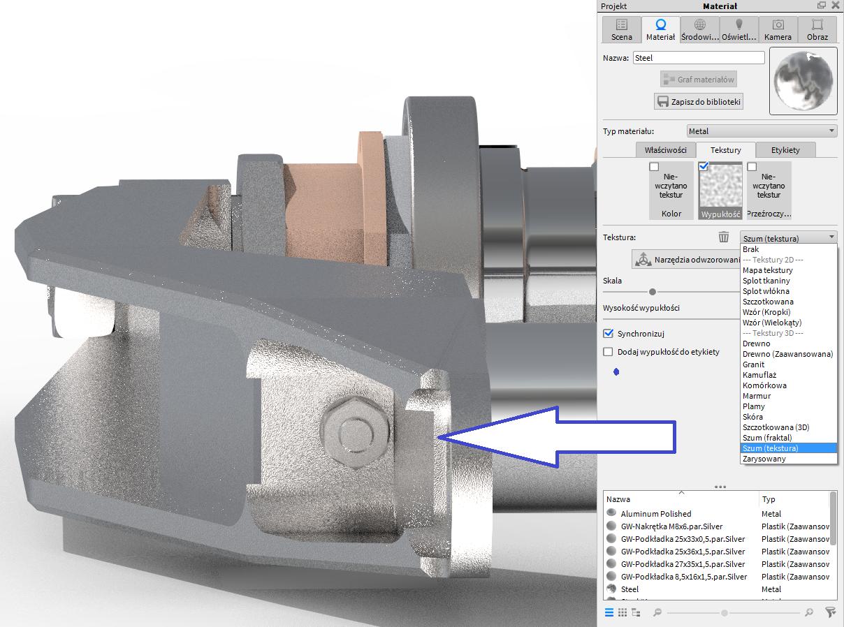 Rozbudowane możliwości definiowania tekstur z poziomu edycji materiału w KeyShot 6