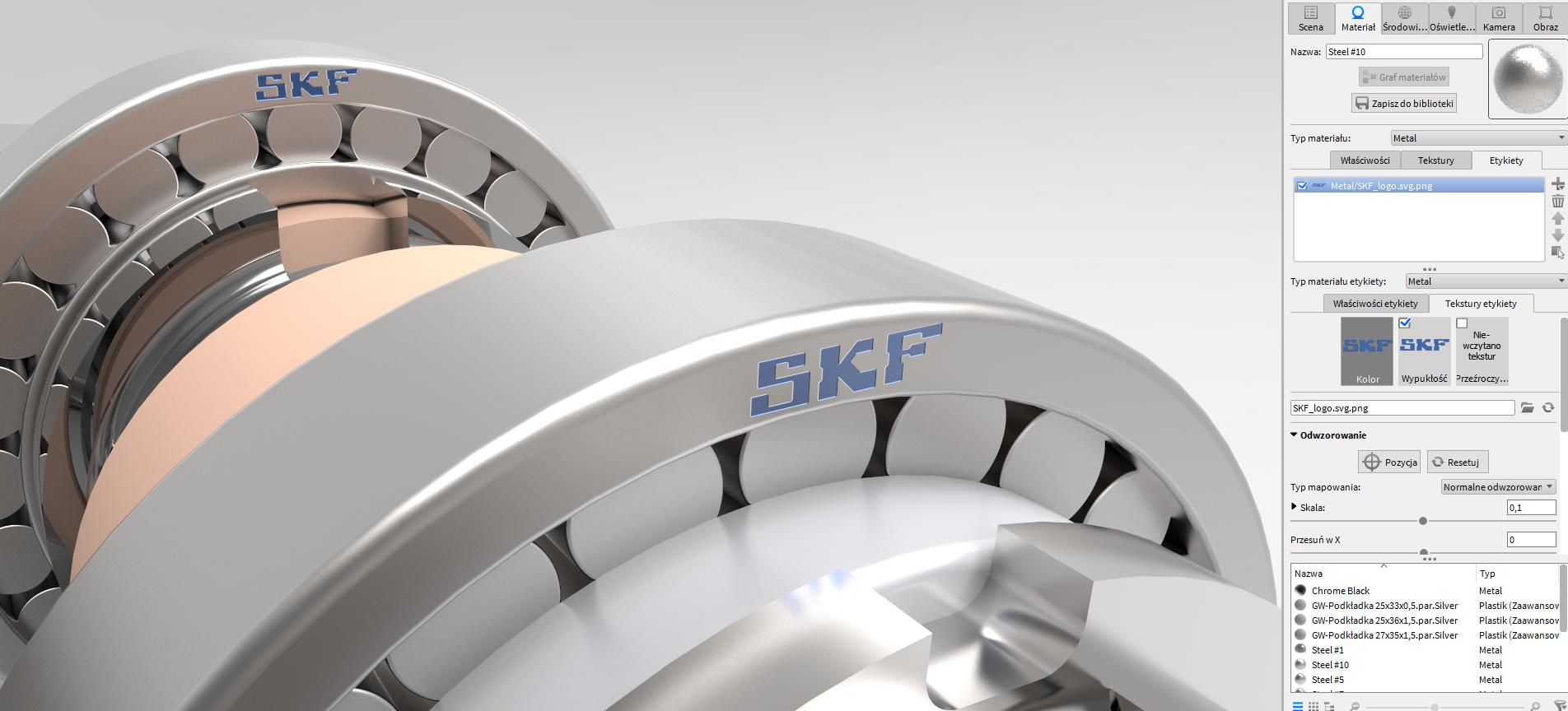 Zupełnie nowa opcja KeyShot 6, umożliwiająca zastosowanie rodzaju materiału do wstawianej etykiety