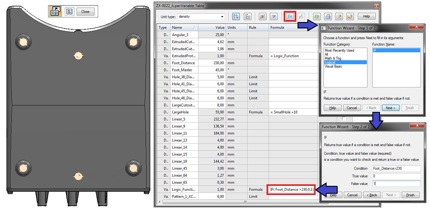 """Definiowanie funkcji IF – """"Jeżeli"""" w tabeli zmiennych"""