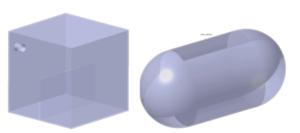 . Geometrie analizowanego modelu (kanister oraz zbiornik paliwa)