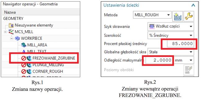 Zmiana nazwy operacji i zmiany wewnątrz operacji zgrubnej w NX CAM
