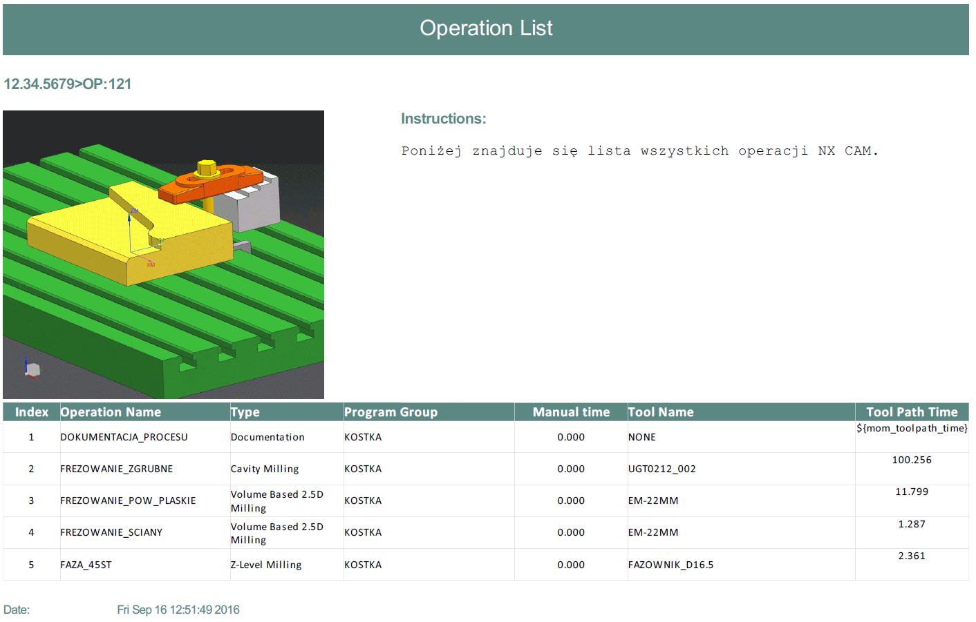 Listy narzędzi i operacji w NX CAM