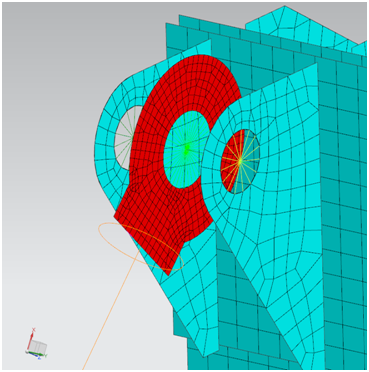 Połączenie tulei z uszami przy użyciu elementów RBE2 oraz RBE3