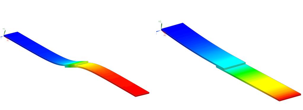 Porównanie konturów rozkładu przemieszczeń dla analizy nieliniowej oraz liniowej w Simcenter 3D