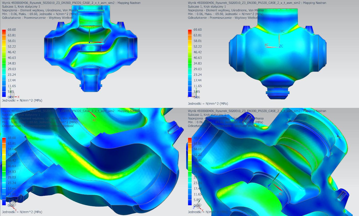 Widok naprężeń termicznych w różnych położeniach modelu