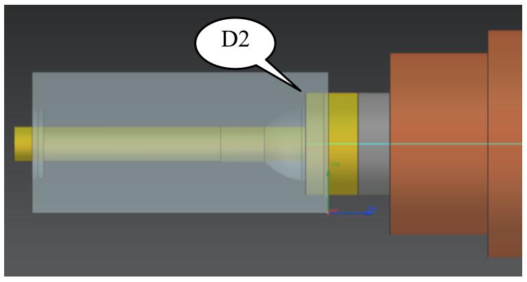Nowości NX CAM - Wiercenie większej średnicy (D2, S565, F84) i powrót przed detal (D1, S565, F400)