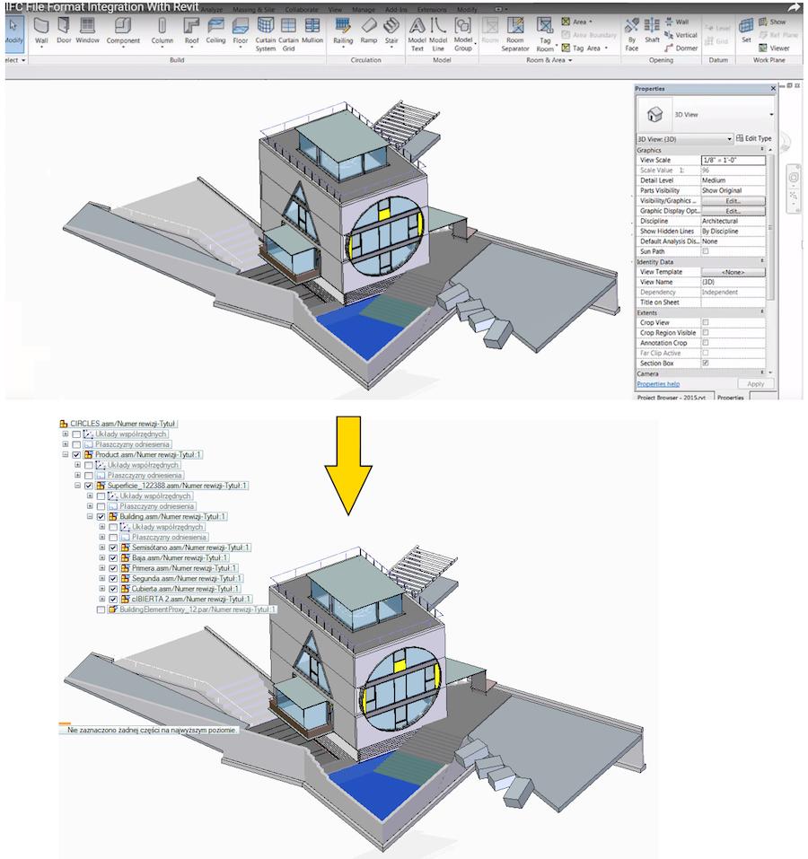 Model wykonany w Autodesk Revit - zaimportowany do Solid Edge ST z wykorzystaniem formatu IFC