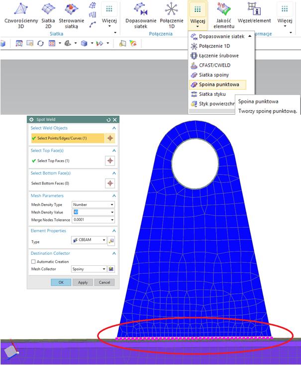 Zastosowanie spoiny punktowej pomiędzy krawedzią a powierzchnią