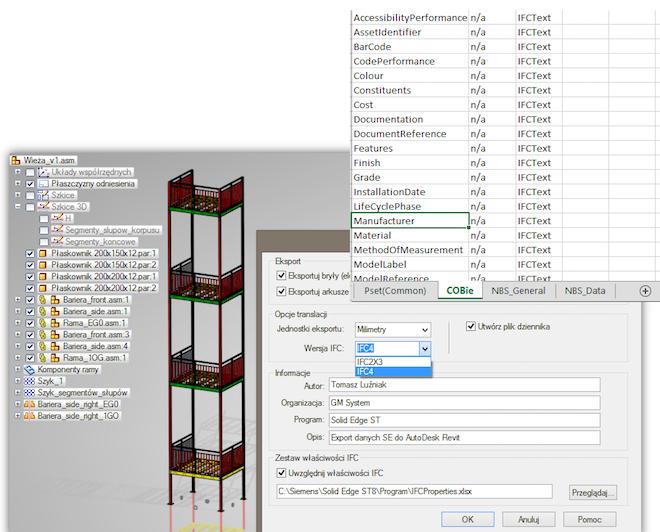 Export modelu wykonanego w Solid Edge ST do formatu IFC obsługiwanego m.in. przez Autodesk Revit.