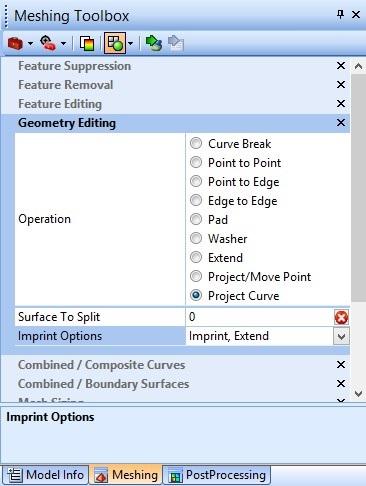 Opcje Meshing Toolbox przedstawiające ustawienia rzutowania krawędzi