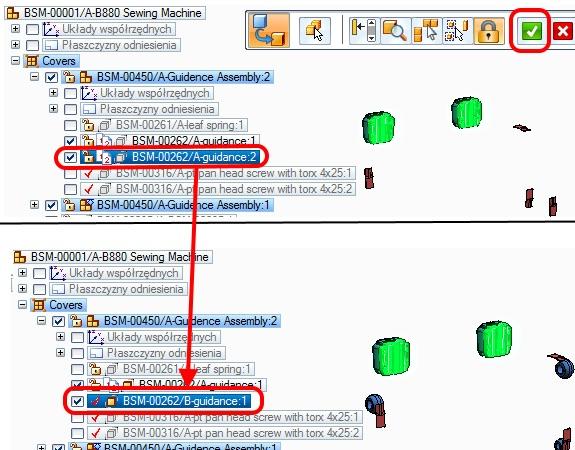 Widok złożenia przed i po zastąpieniu wybranych części ostatnią wydaną rewizją