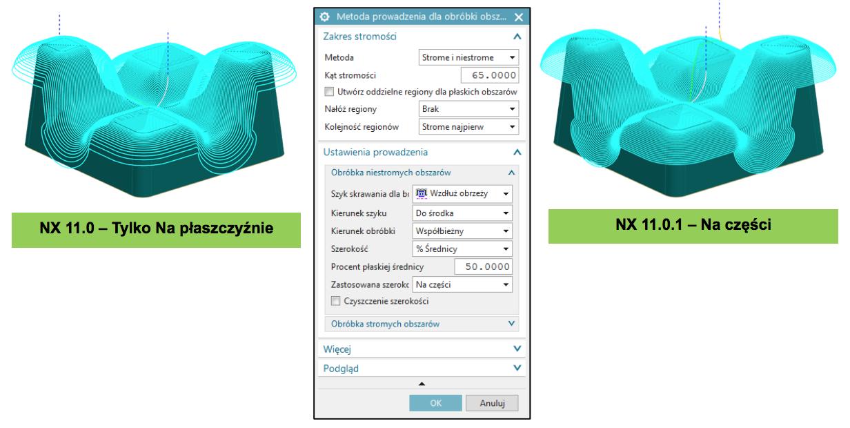 Frezowanie 3D - Obróbka obszaru: rzutowanie na części