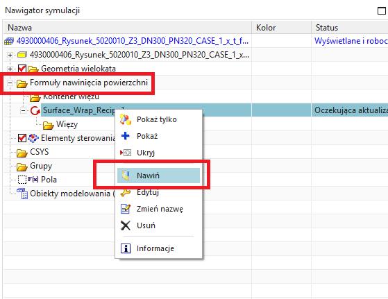 Lokalizacja utworzonej formuły nawinięcia powierzchni w oknie nawigatora symulacji