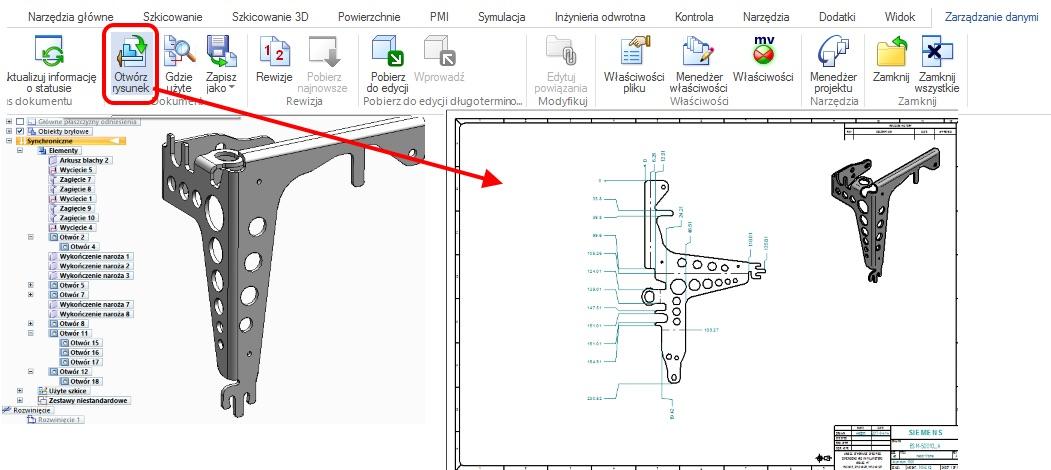 Automatyczne uruchomienie powiązanego z modelem dokumentu rysunku (polecenie Otwórz rysunek)