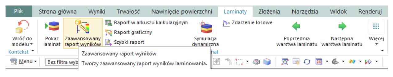 Lokalizacja zaawansowanego raportu wyników dla laminatów