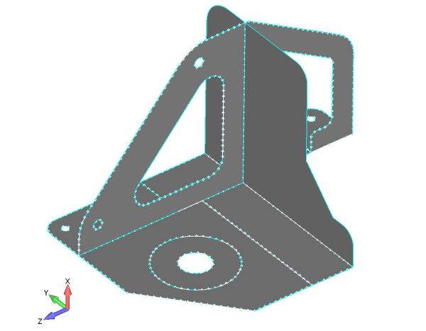 Model powłokowy z krawędziami zrzutowanymi z modelu 3D