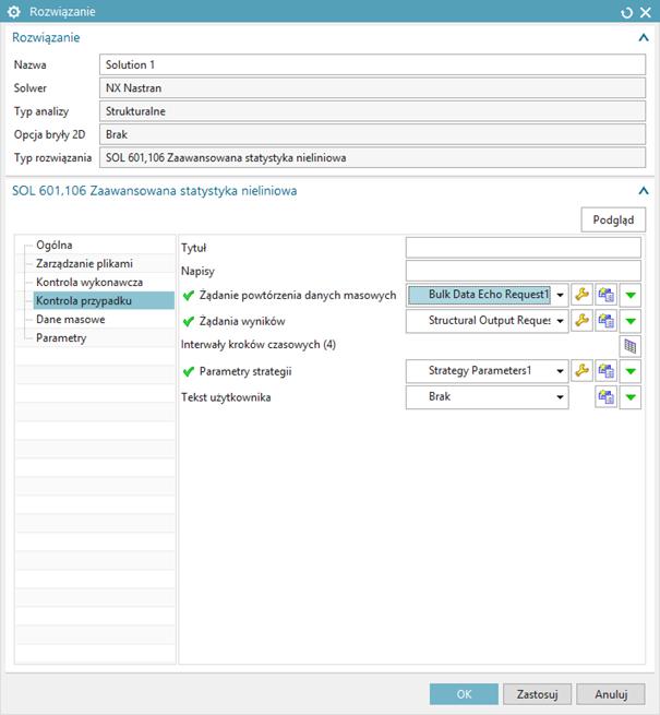 Okno edycji rozwiązania - karta Kontrola przypadku