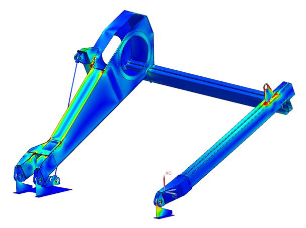 Rozkład konturów naprężeń na analizowanej konstrukcji