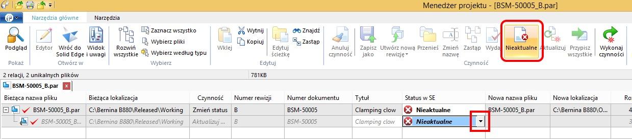 Widok okna Menedżera Projektu – nowe opcje umożliwiające zmianę statusu Wydany na Nieaktualny (dostępne tylko dla kontrolerów dokumentów)