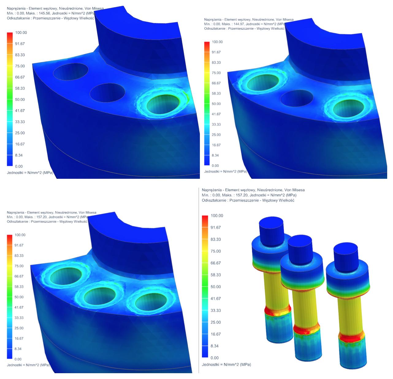 Naprężenia Von – Misesa na konstrukcji dla kolejno dociskanych śrub, oraz naprężenia Von Misesa na śrubach w kroku 3