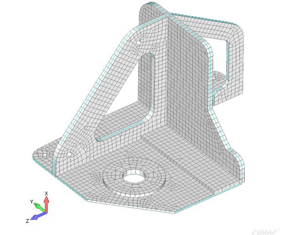 Wizualizacja grubości siatki po dopasowaniu grubości elementow do geometrii 3D