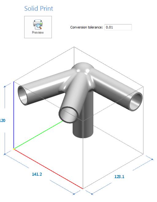 Podgląd wydruku 3D z możliwością wprowadzenia wartości tolerancji konwersji pliku STL