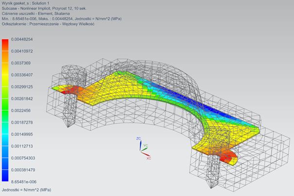 Widok analizy uszczelki w Simcenter 3D