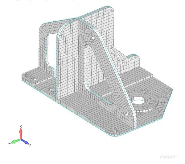 Wizualizacja grubości siatki po dopasowaniu grubości elementów do geometrii 3D w drugim ujęciu