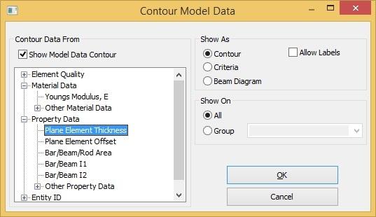 Opcje wyświetlania konturu wg danych modelu