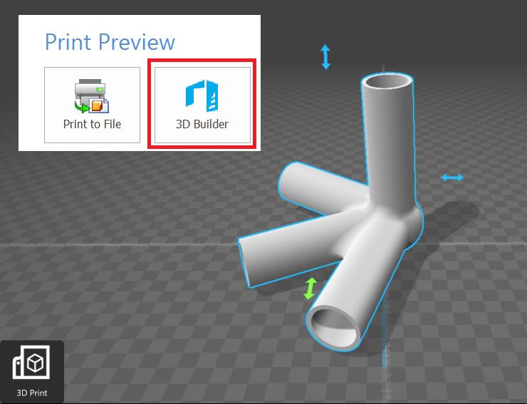 Podgląd modelu do wydruku 3D w aplikacji Microsoft 3D Builder