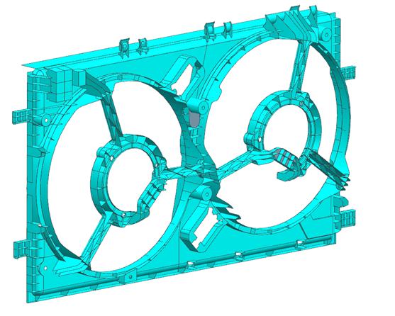 Model CAD obudowy wentylatora chłodnicy silnika samochodowego