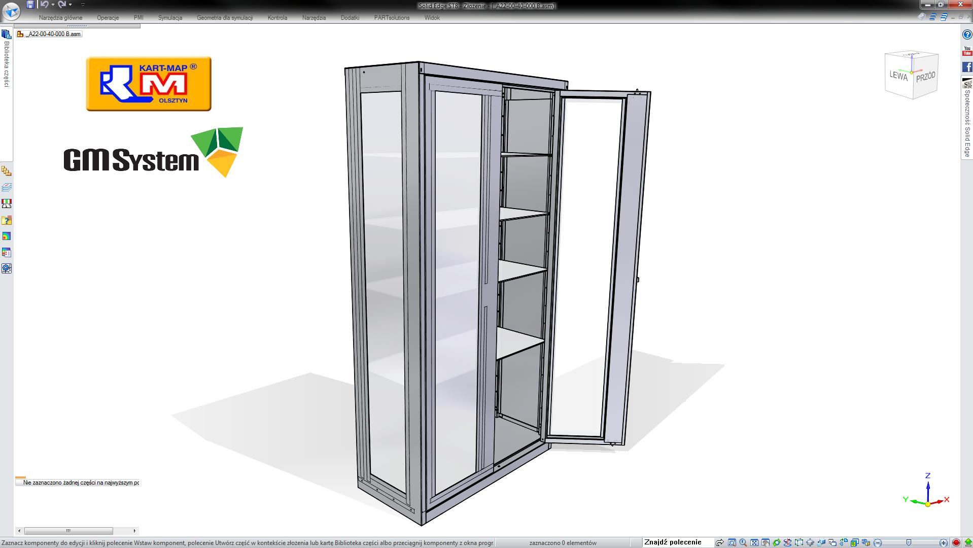 Model szafy medycznej w Solid Edge