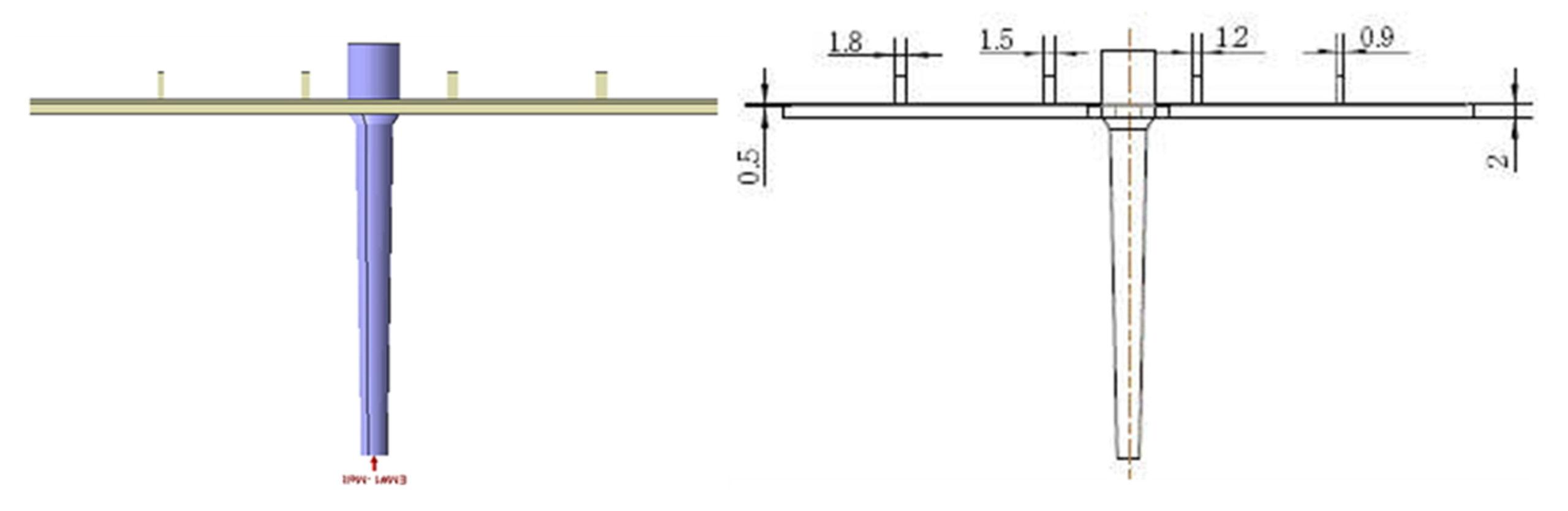 Model z czterema żebrami o różnej grubości